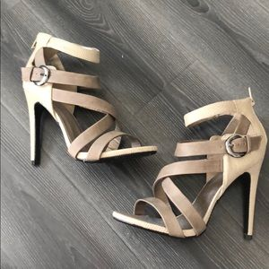 Strappy grey taupe heels